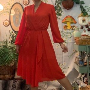 Vintage red ruffle puff sleeve wrap midi dress